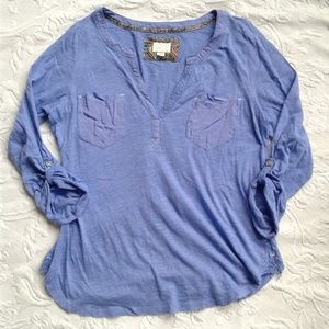 Anthro Postmark Selby Henley Shirt Blue Roll Tab M